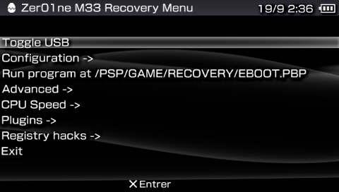 enter recovery mode psp custom firmware